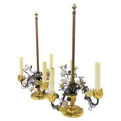French Victorian Bronze Table Lamps with Porcelain Flowers