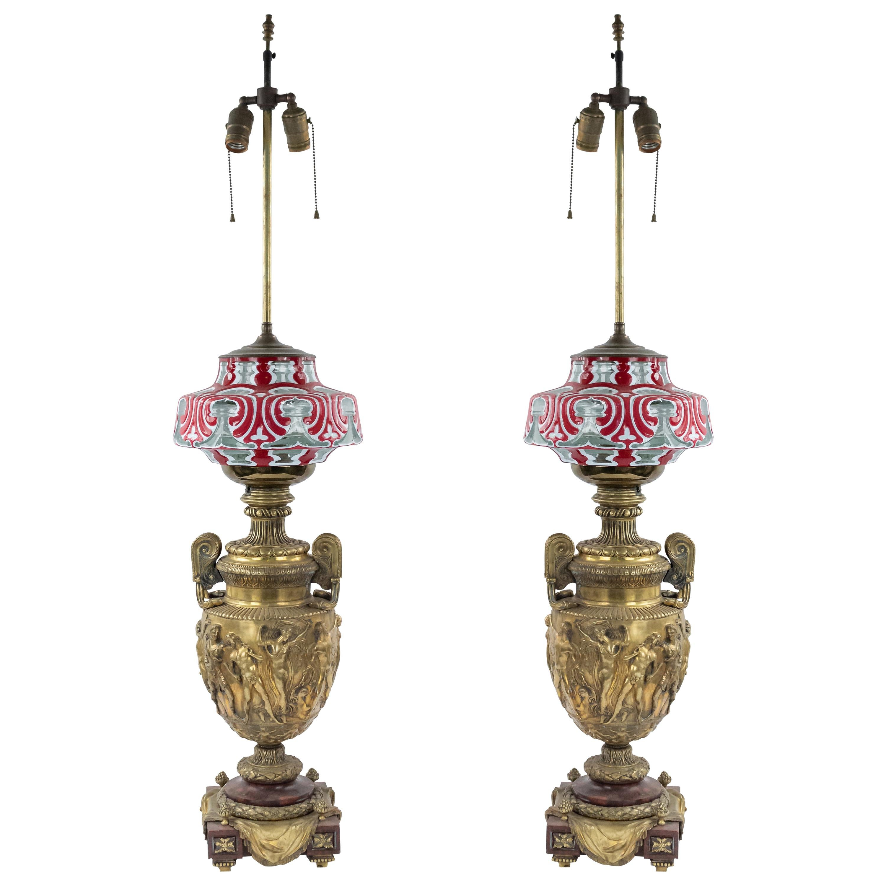 French Victorian Bronze Urn Table Lamps