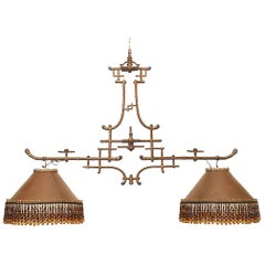 French Victorian Brown Gold Trimmed Iron Billiard Fixture