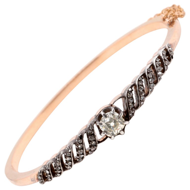 French Victorian Diamond 18 Karat Gold Bracelet