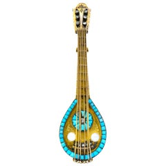 French Victorian Diamond Pearl Turquoise 18 Karat Gold Mandolin Brooch