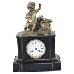 French Victorian Ebonized Allegorical Mantel Clock with Bronze Putti with Swan
