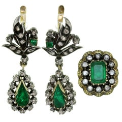 Antique  Emerald Diamond Silver-Topped Gold Drop Earrings and Ring Set