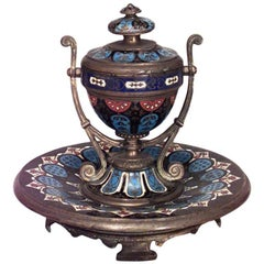 French Victorian Enamel Urn Shaped Inkwell