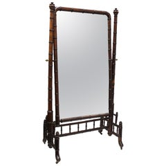 French Victorian Faux Bamboo Cheval Mirror in Mahogany