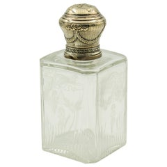 French Victorian Floral Ribbon Garland Sterling Crystal Perfume Scent Bottle