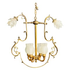 French Victorian Gasolier Bronze Chandelier or Fixture with Original Shades