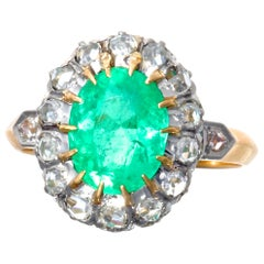 French Victorian GIA Certified Colombian Emerald Diamond Cluster Ring