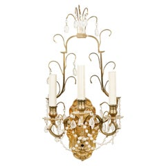 French Victorian Gilt Bronze and Crystal Wall Sconce