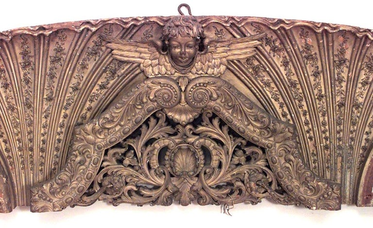 19th Century French Victorian Gilt Carved Wall Plaque For Sale