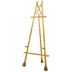 French Victorian Gilt Faux Bamboo Easel Stand