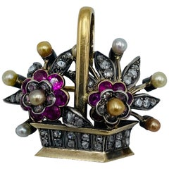 French Victorian Gold and Silver, Diamonds, Pearl and Ruby Pendant and Brooch