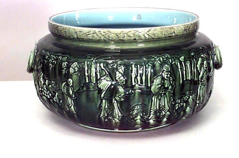 20th Century French Victorian Green Majolica Porcelain Jardinière For Sale