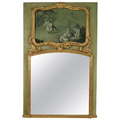 French Victorian Green Painted Chinoiserie Scene Trumeau Wall Mirror