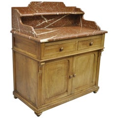 French Victorian Marble-Top Backsplash Wash Stand Bathroom Commode Cabinet Stand