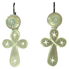 French Victorian Mother of Pearl Carved Crucifix Earrings