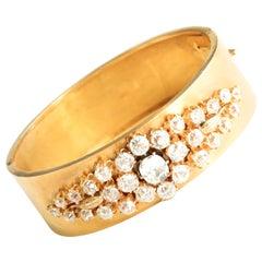 French Victorian Old Mine Cut Diamond 18 Karat Gold Hinged Bangle Bracelet