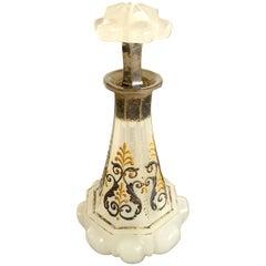 Französische viktorianisches Opalglas, emailliert, Duftflasche mit Stopper