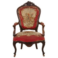 French Victorian Red Floral Armchairs