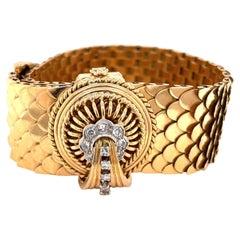 French Victorian Revival Diamond 18 Karat Gold Bracelet