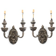 French Victorian Silver Plate Filigree Wall Sconces
