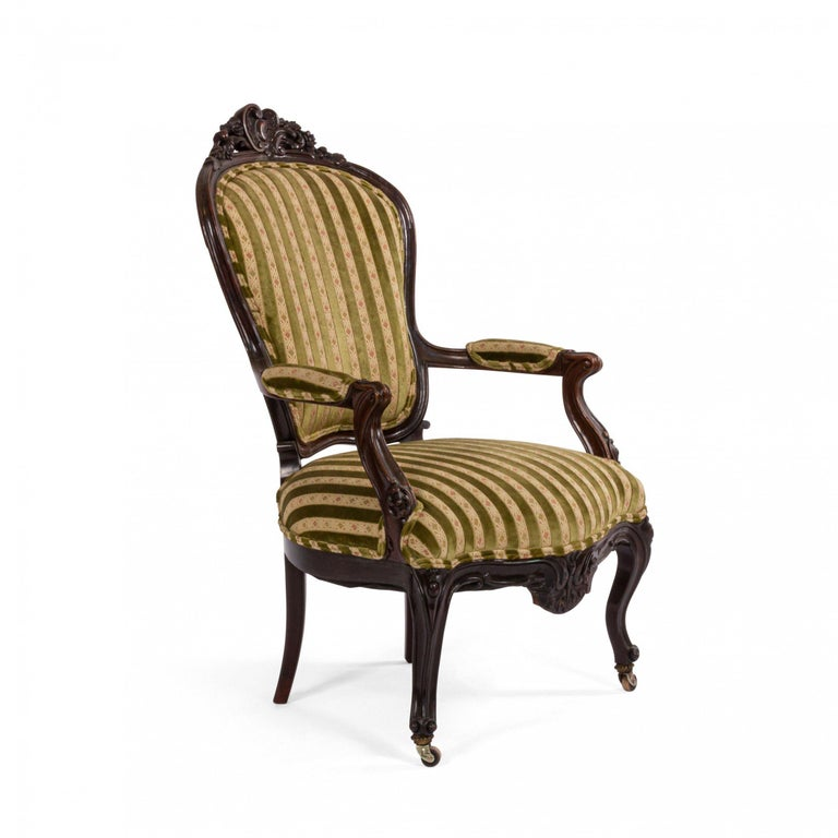 French Victorian Striped Velvet Armchairs For Sale At 1stdibs
