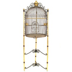 French Victorian Style Black Iron Dome Form Birdcage