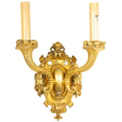 French Victorian Style Bronze Dore Wall Sconce