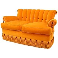 French Victorian Style Gold Silk Velvet Upholstered Loveseat