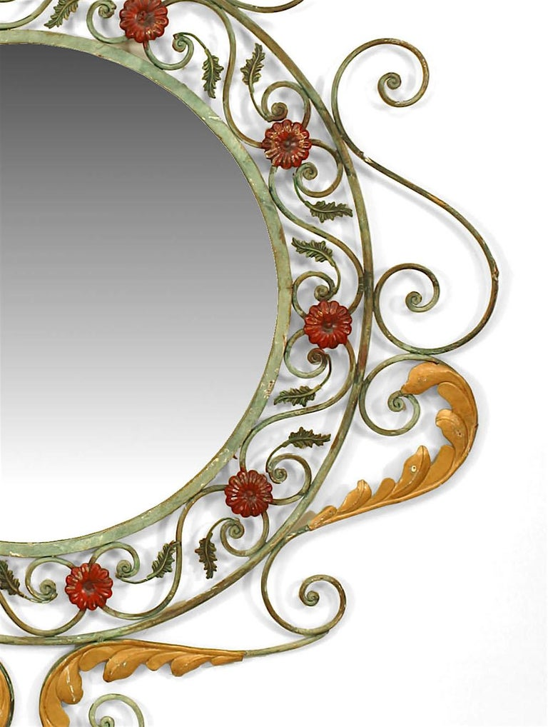 French Victorian Style Painted Iron Wall Mirror In Good Condition For Sale In New York, NY