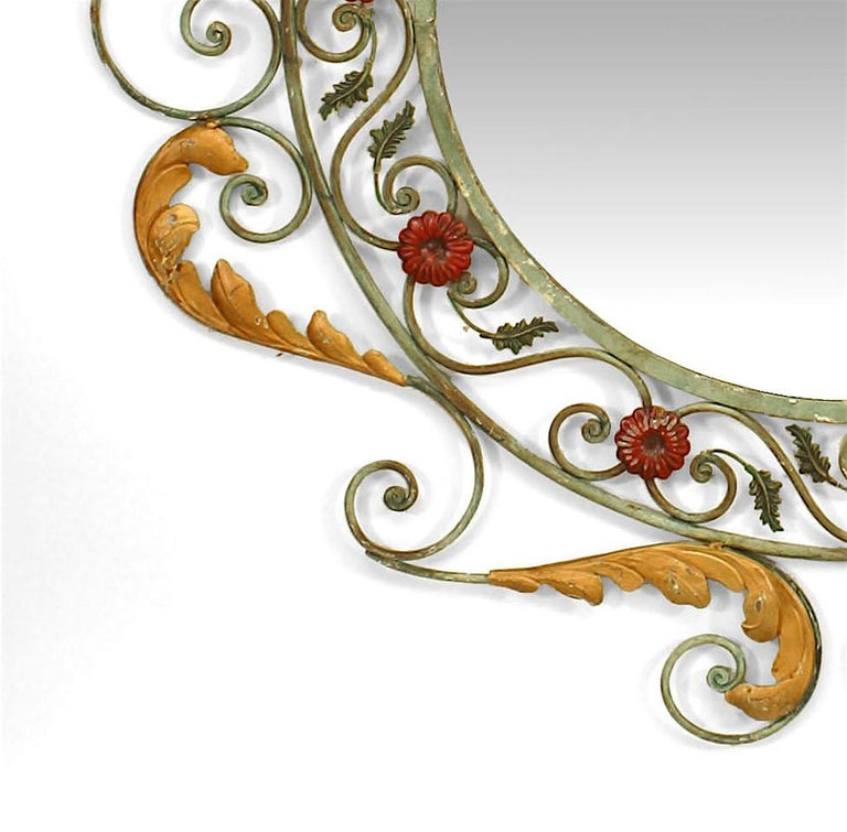 19th Century French Victorian Style Painted Iron Wall Mirror For Sale