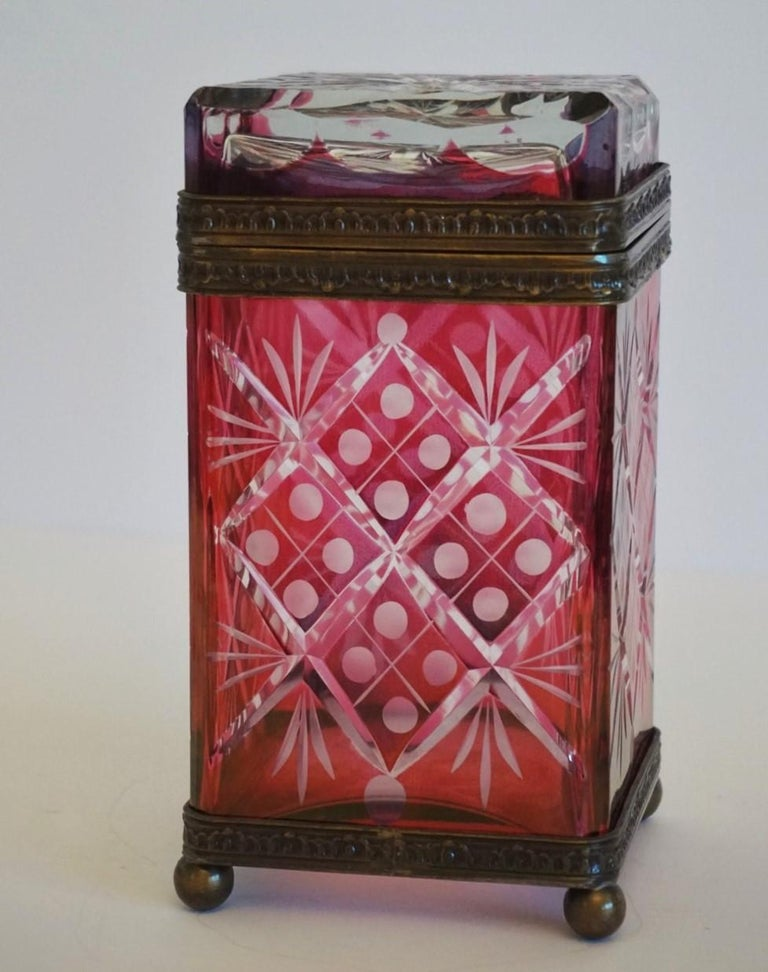 French Victorian Style Ruby to Clear Cut Crystal Box Bronze Mounts, 19th Century For Sale 2