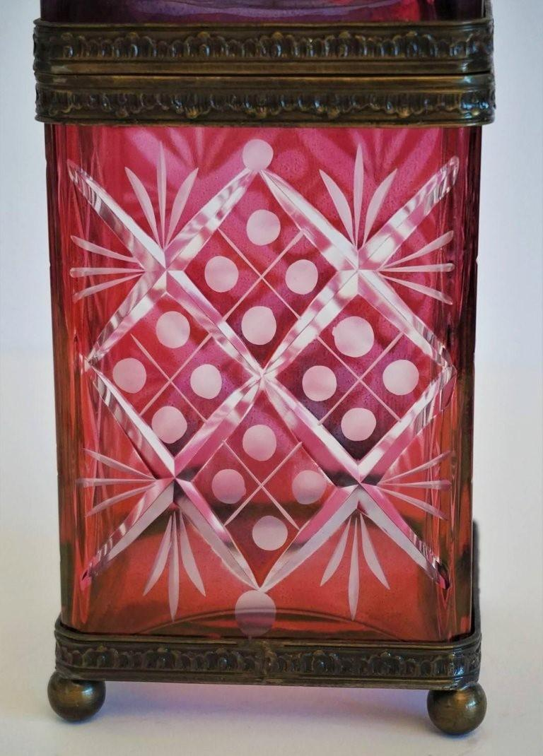 French Victorian Style Ruby to Clear Cut Crystal Box Bronze Mounts, 19th Century For Sale 5