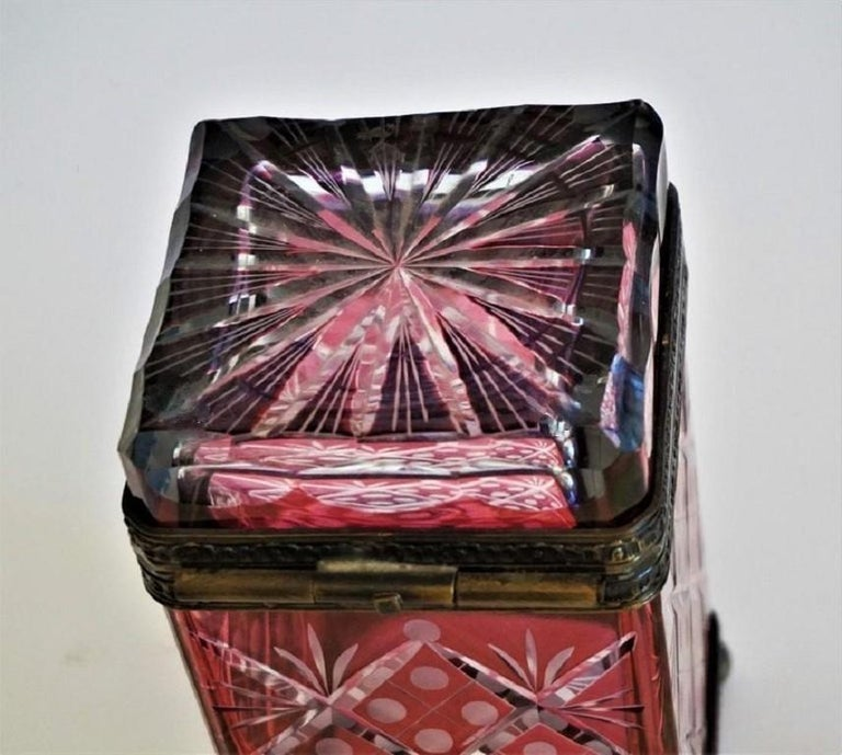 French Victorian Style Ruby to Clear Cut Crystal Box Bronze Mounts, 19th Century For Sale 6