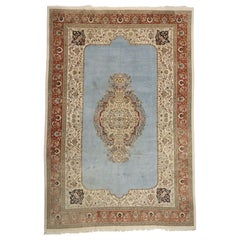 French Victorian Style Vintage Persian Tabriz Rug, Palace Size Persian Rug