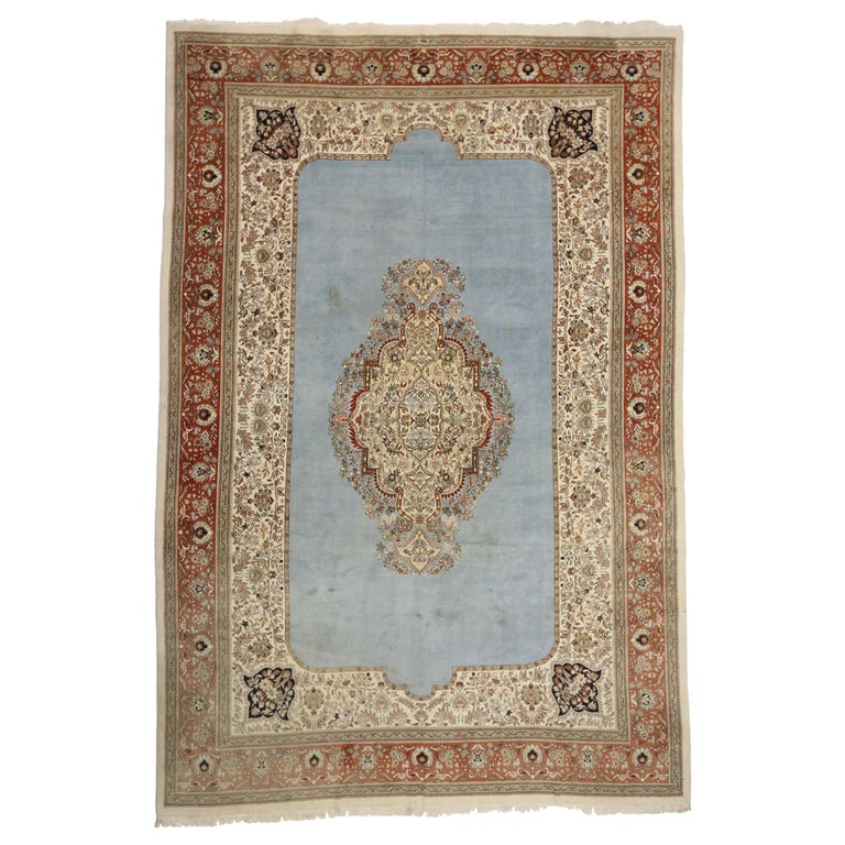 French Victorian Style Vintage Persian Tabriz Rug Palace Size For