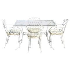 French Victorian Style White Wrought Iron Lattice Garden Patio Dining Set, 5 Pc