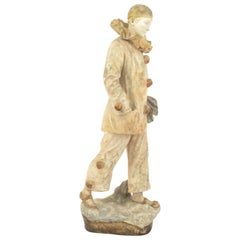 French Victorian Terracotta Figure of a Harlequin