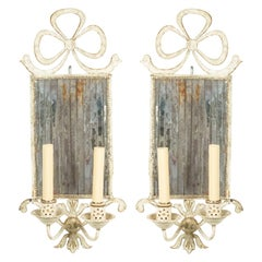 French Victorian Tole and Mirror Wall Sconces