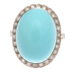 French Retro Turquoise Diamond Gold Ring