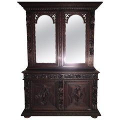 French Victorian Walnut Cupboard/Huntboard