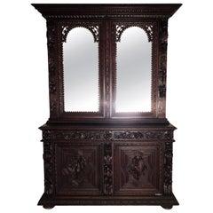 French Victorian Walnut Cupboard/Huntboard