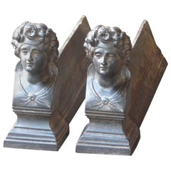 French Victorian 'Woman' Andirons or Firedogs