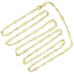 French Victorian Yellow Gold Long Guard Chain Necklace