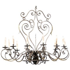 French Vintage 12-Light Wrought-Iron Chandelier with Scrolling Accents
