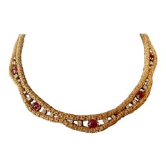 French Vintage 18 Karat Yellow Gold Ruby and Diamond Necklace