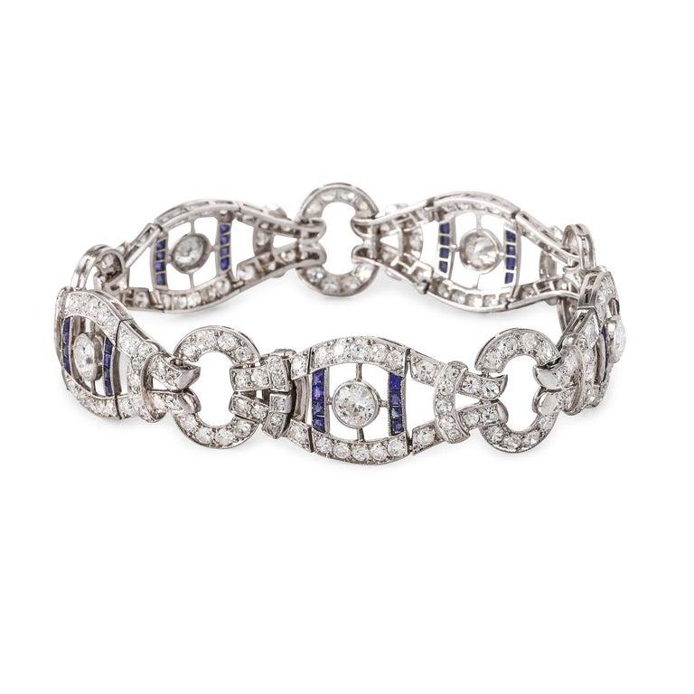 Diamonds (10.00 ctw. I-SI2) Sapphires (2.50 ctw.) 7.25″ Circa 1920's Platinum 27.7 grams Diamond & Gemstone weights are approximate