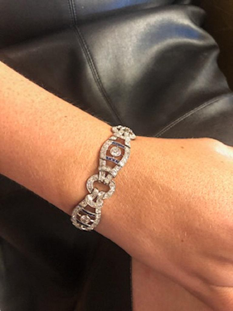 French Vintage 1920s Sapphire Diamond Bracelet In Good Condition For Sale In Dallas, TX