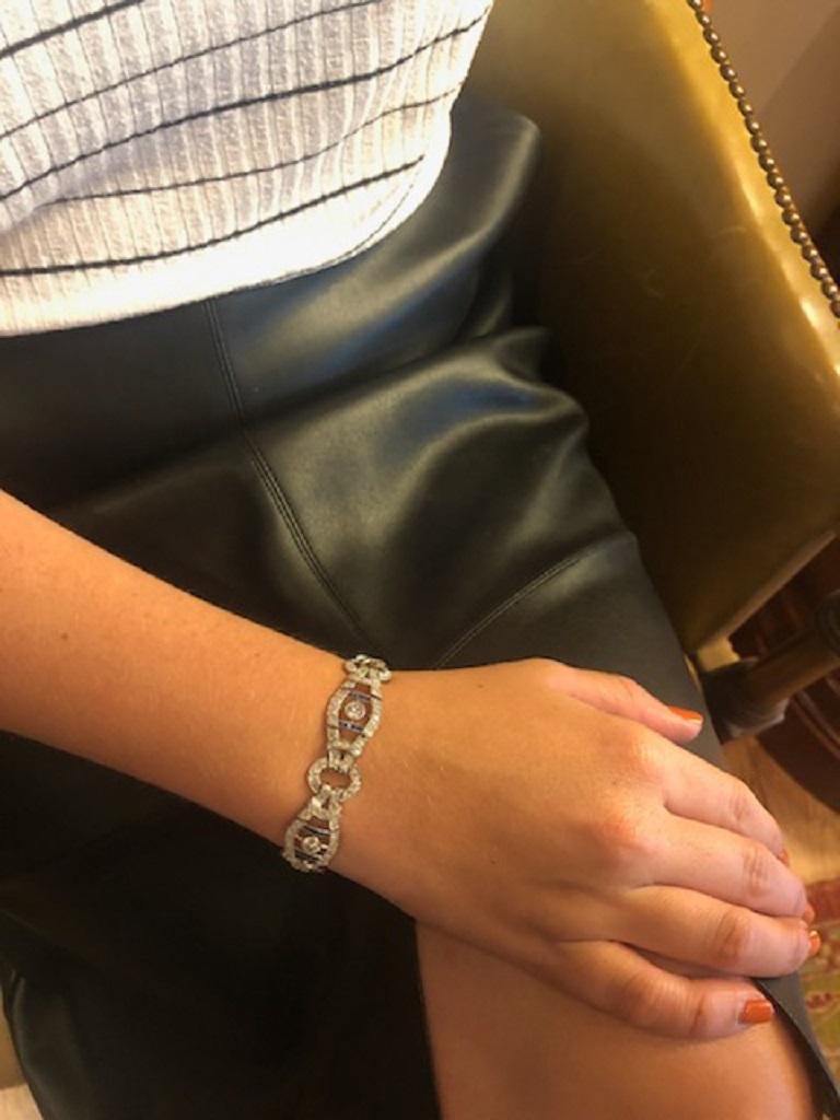 Women's French Vintage 1920s Sapphire Diamond Bracelet For Sale