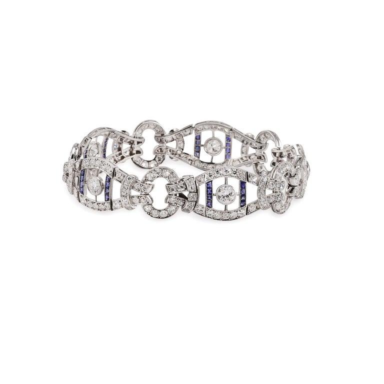 French Vintage 1920s Sapphire Diamond Bracelet For Sale 1
